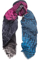 Christopher Kane Snake Effect Modal And Cashmere Blend Scarf Gray