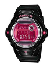 G Shock Baby G Ladies Black And Hot Pink Jelly Watch