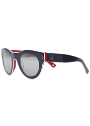 Moncler Navy Mirrored Round Frame Sunglasses