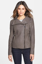 T Tahari 'Angelina' Zip Collar Leather Moto Jacket Regular And Petite Jungle