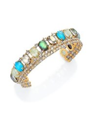 Alexis Bittar Elements Howlite Black Mother Of Pearl And Crystal Lace Cuff Bracelet