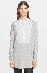 Vince Tuxedo Inset Mixed Media Top Heather Grey Off White