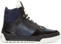Fendi Navy Leather Tank High Top Sneakers