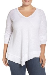 Sejour Plus Size Women's Long Sleeve Faux Wrap Front Pullover White