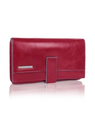 Piquadro Blue Square Red Zip Around Leather Wallet