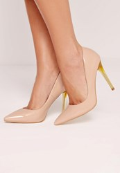 Missguided Perspex Heel Patent Court Shoes Nude Beige