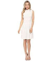 Vince Camuto Sleeveless Mock Neck Ruffle Lace Flare Dress Antique White Women's Dress