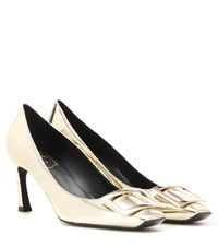 Roger Vivier Decollete Belle Trompette Metallic Leather Pumps Gold