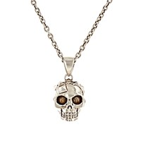 Alexander Mcqueen Men's Pixelated Skull Charm Necklace Silver