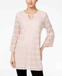 Styleandco. Style Co. Split Neck Lace Tunic Only At Macy's Crushed Petal