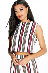 Boohoo Striped Woven Sleeveless Crop Top Multi