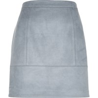 River Island Womens Blue Faux Suede A Line Skirt