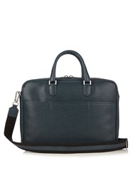 Valextra Grained Leather Briefcase Navy