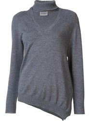 Les Animaux V Neck Knit Blouse Grey