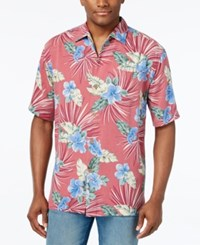 Tommy Bahama Men's Floral Fireworks Shirt Red Cherry
