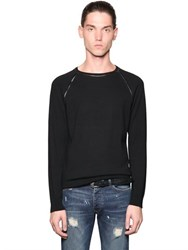 The Kooples Nappa Leather Trim On Wool Sweater