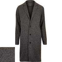 River Island Mens Black Knitted Duster Coat