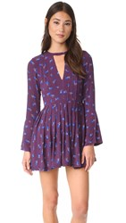 Free People Tegan Printed Mini Dress Purple Combo