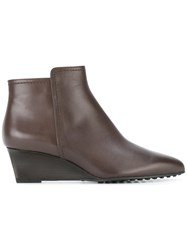 Tod's Wedge Ankle Boots Brown