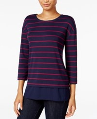 Maison Jules Striped Top Only At Macy's Blu Notte Combo