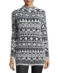 1.State Mock Neck Fair Isle Sweater Off White