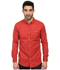 Wesc Synon Long Sleeve Woven Shirt Baked Apple Men's Long Sleeve Button Up Red