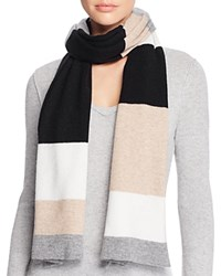 Bloomingdale's C By Variegated Striped Scarf Neutrals