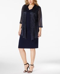 Connected Plus Size Metallic Layered Look Dress Navy