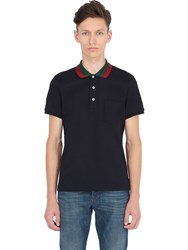 Gucci Web Collar Stretch Cotton Pique Polo