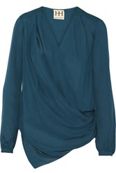 Haute Hippie Draped Wrap Effect Silk Chiffon Top Blue