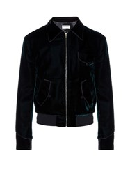 Saint Laurent Point Collar Velvet Bomber Jacket Green
