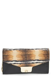 Milly Snake Embossed Leather Clutch Beige Natural