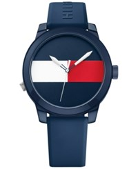 Tommy Hilfiger Men's Cool Sport Navy Silicone Strap Watch 42Mm 1791322