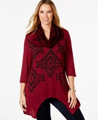 Extra Touch Plus Size Aztec Print Scarf Tunic Secret Wine
