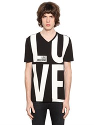Love Moschino Logo Printed Cotton Jersey T Shirt
