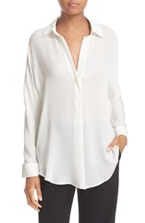 Vince Women's Shirred Back Yoke Silk Tunic Shirt Chalk