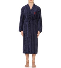 Ralph Lauren Striped Terry Robe Navy