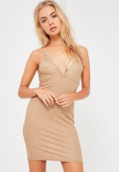 Missguided Gold Shimmer Strap Detail Bodycon Dress