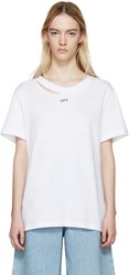 Off White White Ripped Collar T Shirt