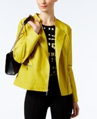Alfani Faux Leather Zip Front Moto Jacket Only At Macy's Luxe Lime