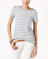 Tommy Hilfiger Striped Anchor Print T Shirt Light Grey Heather