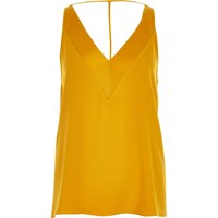 River Island Womens Yellow Sleeveless T Back Cami