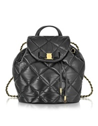 Salvatore Ferragamo Giuliette Quilted Nappa Leather Backpack Black