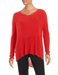 Eileen Fisher V Neck Hi Lo Sweater Poppy