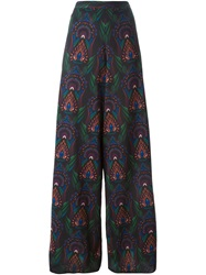 Alice Olivia Alice Olivia Printed Wide Leg Trousers Black