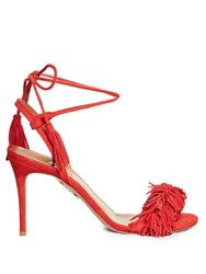 Aquazzura Wild Thing Suede Fringed Sandals Red