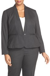 Sejour Plus Size Women's Glen Plaid Suit Jacket Charcoal Check Pattern