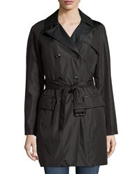 Marc By Andrew Marc New York Chloe Faux Leather Trim Trenchcoat Black