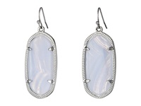 Kendra Scott Elle Earring Rhodium Blue Lace Agate Earring Clear