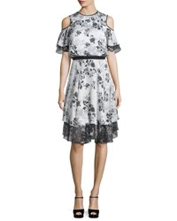 Prabal Gurung Floral Print Silk Cold Shoulder Dress White